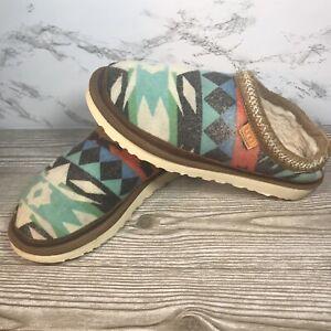 Ugg Chestnut Tasman Sierra Print Lined Sheepskin Slippers Loafers Size 10