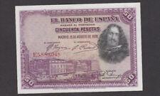 50 PESETAS AUNC BANKNOTE FROM SPAIN 1928 PICK-75