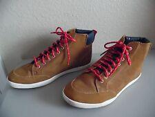 H&M Men's Brown Suede HI TOP Red Laces Shoes US 10 1/2  EUR 44