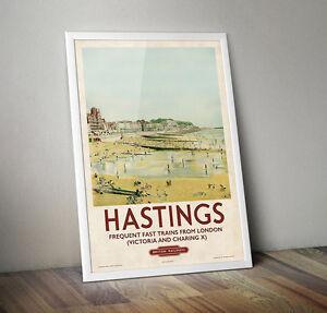 Vintage Railway Travel Poster - Hastings- A4