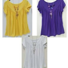 Ladies Girl Short Sleeve Frill Necklace Long V Neck Tunic Gypsy Tops Casual Wear