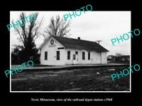 OLD LARGE HISTORIC PHOTO OF NEVIS MINNESOTA, THE RAILROAD DEPOT STATION c1960