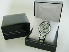 Men's Watch Box Nero in Similpelle Trama Grossa Bracciale Gioielli Caso