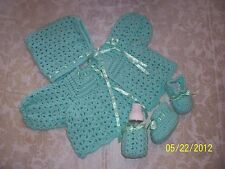 Green Hand-Crocheted Handmade 4-Piece Baby Sweater Set 0-6 mo