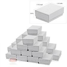 "25 White Swirl Cardboard Cotton Filled Jewelry Gift Boxes 1 7/8"" X 1 1/4"" Box"