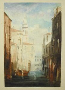 Venice Venezia Italy Watercolour Original Signature IN Decrypt View A Canal