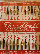 Vintage Hunt Speedball Pens Ink Nips 20 Card Drawing Calligraphy Art Crafts