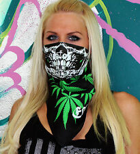 MARIJUANA WEED LEAF GLOW IN THE DARK SKULL BANDANA FACE MASK  RAVE COLORADO SNOW