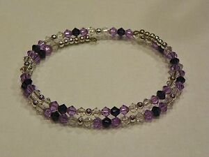 BRACELET SWAROVSKI CRYSTAL, PURPLE, STERLING SILVER PLATED Bridesmaid Gift