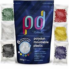 Polydoh hand mouldable plastic pellets, polymorph thermoplastic beads plastimake
