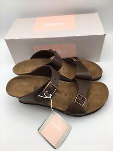 Birkenstock Dorothy Wedge Sandal Brown Leather size 41 / US 10 - 10.5