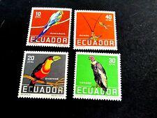 ECUADOR 1958 BIRDS OF ECUADOR, ATTRACTIVE COMPLETE SET OF 4 VALUES, VF MINT NH