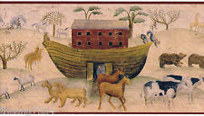 Primitive Noahs Ark Country Animals Ship Religious Bible Wall Paper Border Roll