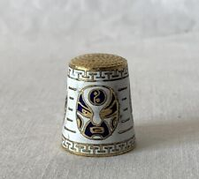 Metal Brass and Enamel Thimble with White Background + Oriental Mask