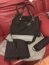 BNWT Oroton Signature O Baby Nappy Bag Change Tote in Jacquard Black rrp $495