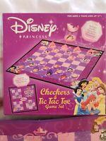 Vintage Disney Princess Checkers & Tic Tac Toe Game Set ages 5+, box opened NIB