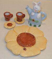 Eddie Walker 7pcs Bunny Teapot / Coffee Mug Cups Coaster Sunflower Tray Easter