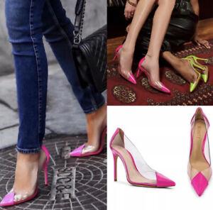 Schutz Cendi Hot Pink Clear Transparent Pumps Heels Anthropologie Pointed Toe 8