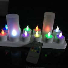 12pcs/set Remote Controlled Rechargeable Tea Light LED Candles color Change lamp