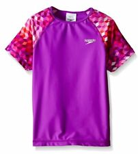 Speedo Girls Rash Guard Shirt Purple Top Swimming Surf Size M 8-10