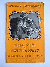 Hull City v Notts County 1952/1953 - Football Programme