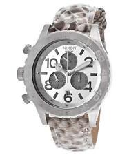 "NWT Nixon A037843 ""The 42-20"" White Python Snake Skin Band Chronograph Watch"