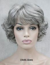 Grayish-white Short women elderly Ladies Daily Fluffy Synthetic Wig FTTLD175