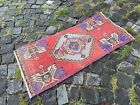 Vintage doormats, Turkish small rug, Hand-knotted wool rug,Carpet   1,4 x 3,0 ft