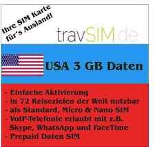 60 días datos tarjeta SIM EE. UU. 3 gb para at&t & T-Mobile Standard/micro/Nano
