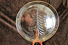 """Indiana Glass Holiday Tree Christmas Serving Platter 13""""  Gold Rim"""