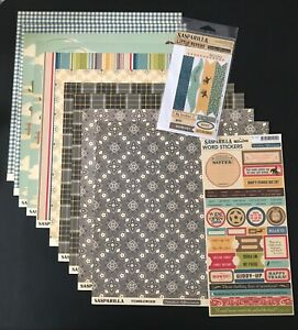 October Afternoon Sasparilla 10 12x12 Patterned Papers, Sheet Stickers & 1 Packa
