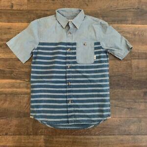 VANS boy's collared button shirt, blue,  MEDIUM, New