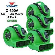 XPOWER X-600A 1/3 HP Air Mover Carpet Dryer Fan w/ Daisy Chain 4 Pack- Green