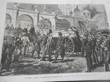 Gravure 1874 - Madrid les funérailles Maréchal Concha