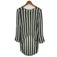 Sass & Bide Womens Silk Top Size 6 White Black Striped Long Sleeve Boat Neck