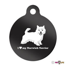 I Love My Norwich Terrier Engraved Keychain Round Tag w/tab Many Colors