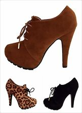 Bamboo Women Fashion Clasic Suede Platform Lace Up High heel Ankle Boot New