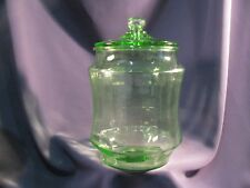 Vintage Depression Glass Green Pretzel Cookie Jar + Lid - Wonderful Shape