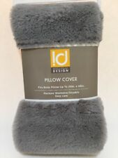 "Intelligent Design Body Pillow Cover 20"" X 48"" Gray Faux Fur With Zipper"