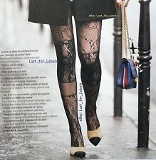 CHANEL Black Patchwork Lace CC Stockings NEW in Bag / Box Size Large Tights WOW