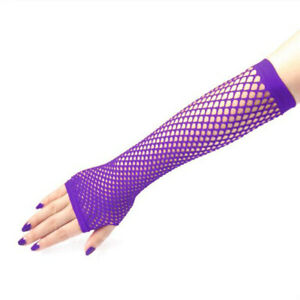Neon Tone Long Fishnet Fingerless Elbow Sleeves Gloves Punk Costume 80s Style