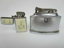 2 Vintage Lighters Ronson Trophy Pat # 2481195 Zippo Bradford PA Collectable