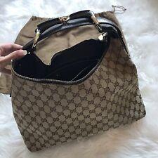 Gucci Beige GG Canvas Brown Leather Trim  Horsebit Hobo Bag Handbag Purse