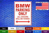 """BMW Parking Only 8""""x12"""" American White Aluminum Sign Choose Color! Novelty Buy !"""