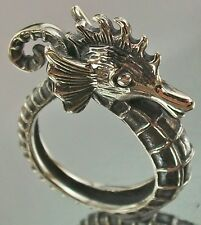 Sterling Silver 925 open flexible SEAHORSE Ring US 8 3/4 AU R oxidised, 9.3g