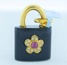 """18K Yellow Gold Women Hand Carved Black Onyx Lock Flower Bracelet or Pendant 24"""""""