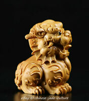 China Natural Boxwood Carve Fengshui Foo Fu Dog Guardion Door Evil Lion Statue T
