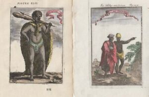 1683 & 1685 Two Attractive Mallet Engravings of S. & W. African Peoples