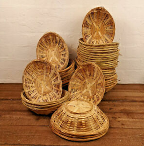 Vintage Oval Natural Bamboo Wicker Bread Basket Storage Hamper Display Trays New