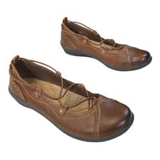 Earth Origins Womens Ballet Flats Shoes Brown Criss Cross Strap Leather 7.5 M